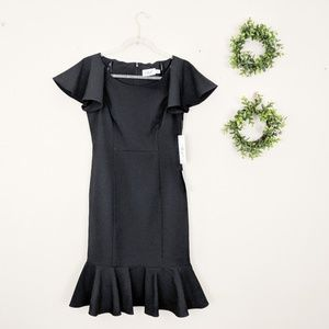 Eliza J | New Black Fitted Ruffle Cocktail Dress 4